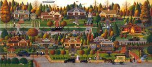 Charles Wysocki - Labor Day in Bungalowville