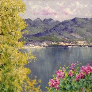 Antonio Sannino Lake Como painting of plants and mountains surrounding lake in Italy