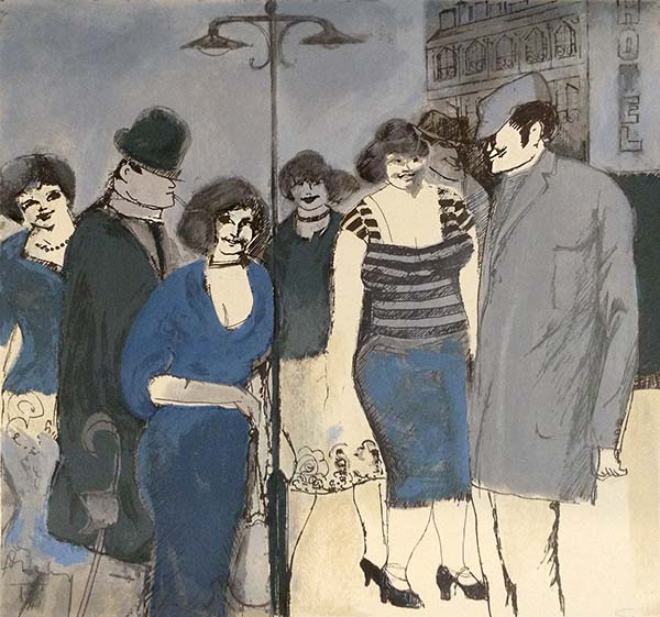David Schneuer - Lamplight print of people in blue standing on a street at night