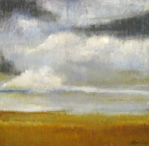 Kathleen Reilly Encaustic Cloud Landscape in Burnt Orange and Gray