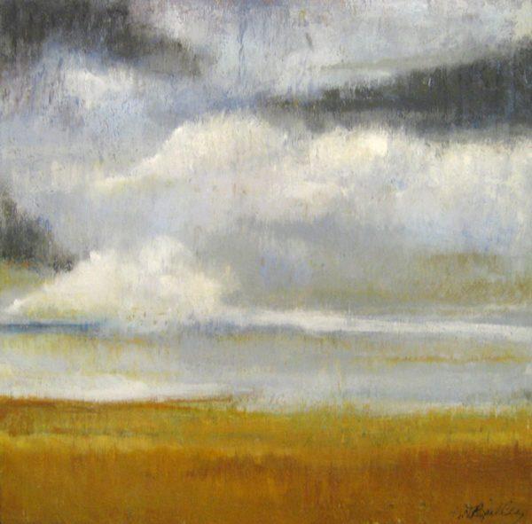 Kathleen Reilly Encaustic Cloud Landscape in Burnt Orange and Gray