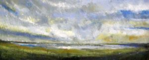 Kathleen Reilly Original Encaustic Painting on Board of Seascape Nautical Marsh Scene