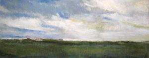 Kathleen Reilley Encaustic Painting Landscape on Board of Green Marshland Blue Cloud Sky Horizon