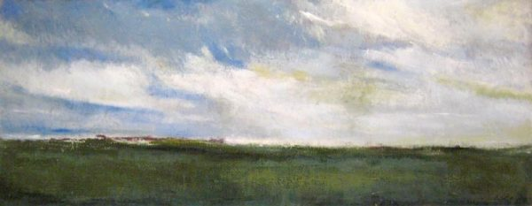 Kathleen Reilley Encaustic Painting Landscape on Board of Green Marshland Blue Cloud Sky Horizon