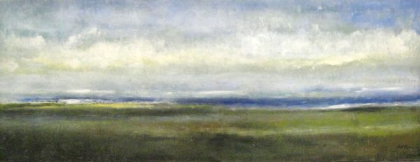 Kathleen Reilley Encaustic Painting on Board of Ocean Seascape Green Marsh with White Clouds and Blue Sky