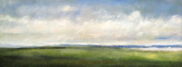 Kathleen Reilly Land to Sea #43 (18x48 encaustic painting on board)