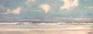 Kathleen Reilley Contemporary Encaustic Seascape on Board in Blue Purple Pink Sky Clouds Waves