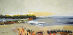 Angela Maritz Beach Landscape in Neutral Beige Gray Yellow Orange and Green