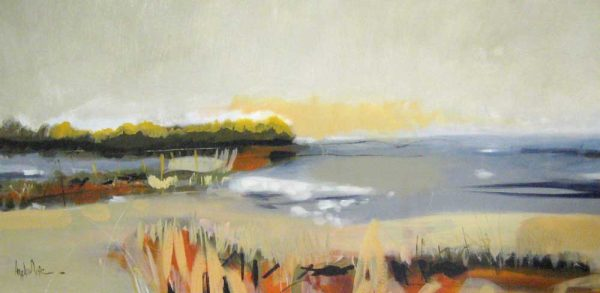 Angela Maritz Beach Landscape in Neutral Beige Gray Yellow Orange and Green