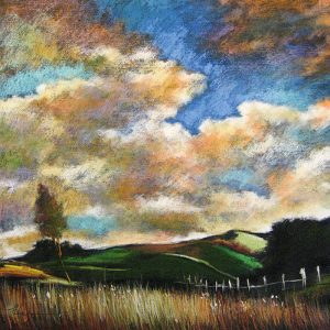 Helen Zarin Painting of a landscape with colorful clouds
