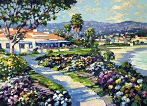 Howard Behrens - Las Briscas print of beachfront house with flowers and trees