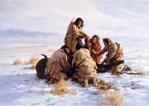 Howard Terpning - Last Buffalo print of native american men with their kill in snowy field
