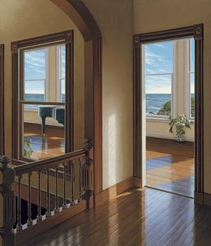 Edward Gordon - Late Afternoon - Giclee of the interior of a house looking out to the ocean
