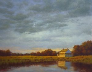 Hillary Scott Landscape Oil Painting of House on Water