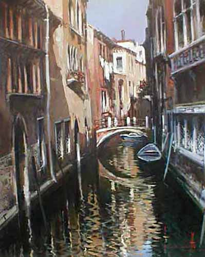 Claudio Simonetti Painting of venice italy canal with buildings and footbridge