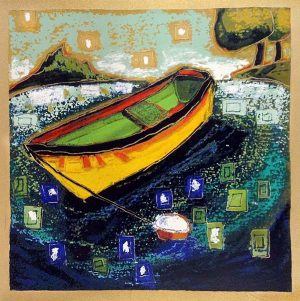 Alison Goodwin - Late Summer - Serigraph of a row boat