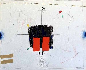 James Coignard Le Clavier - Rouge (18x22 carborundum engraving etching) abstract with typography and geometric shapes