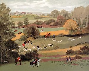 Michel Delacroix - Le Debucher print of hunt in forest with horses and dogs from La chasse a Courre suite