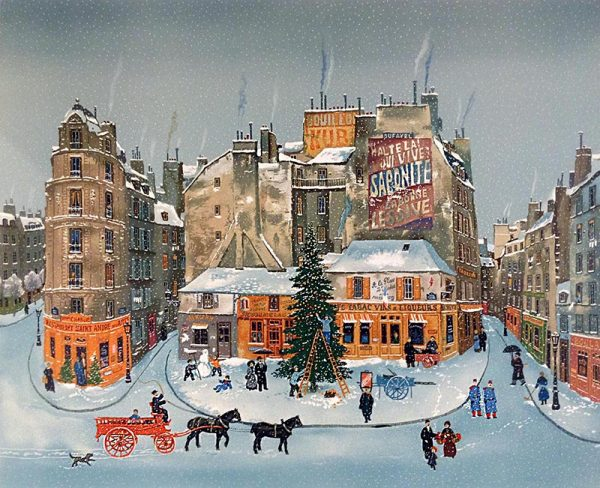 Michel Delacroix - Le Grand Sapin print of people out in a french town putting up a christmas tree in winter