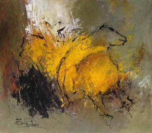 Marcelle Dube Abstract painting of horses in neutral colors yellow mustard beige