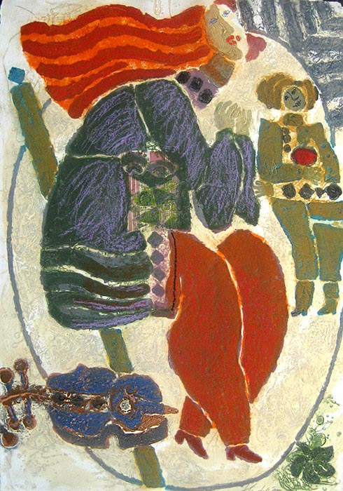 Theo Tobiasse - Lea judaica print of woman with violin and another person behind her