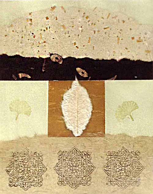 Janet Richardson Baughman Mixed Media leaf abstract in Neutral Light Green Ochre Beige Cranberry
