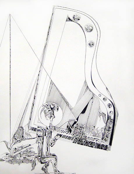 Gary Smith Black and White Pen and Ink on Paper of Baby Grand Piano Player