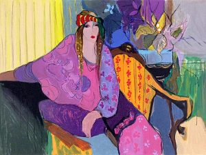 Itzchak Tarkay - Leila print of woman in colorful, eccentric clothing sitting