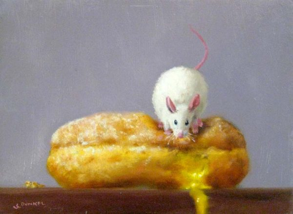 Stuart Dunkel Small Oil Painting of a Mouse on a Lemon Doughnut