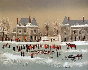 Michel Delacroix - Les Honneurs print of people, horses, and dogs gathered outside houses from La Chasse a Courre suite