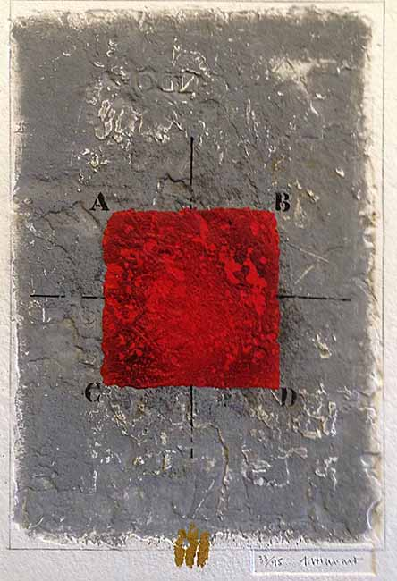 James Coignard Les Positionements - Rouge (26x20 carborundum engraving etching) abstract with typography and red square
