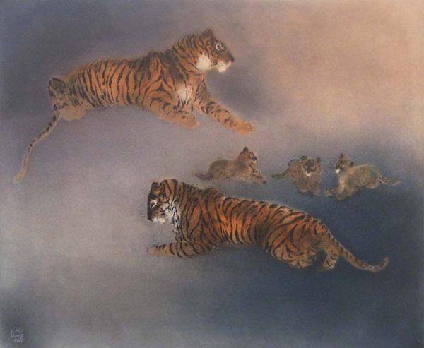 Kaiko Moti - Les Tigres (19x23 etching on paper)