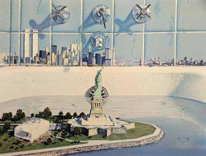 Doug Webb - Liberty Renewed print of Ellis Island and Statue of Liberty in bathtub