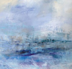 Jodi Maas Contemporary Abstract Oil Painting on Canvas of Blue and Teal Seascape