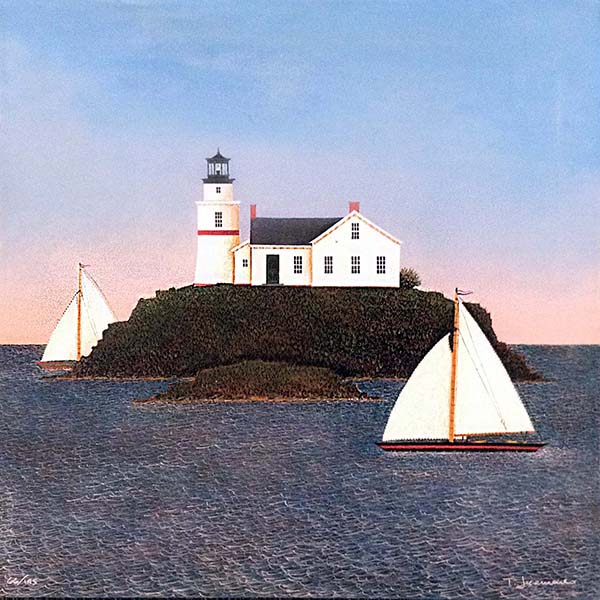 Ted Jeremenko - Light on the Island giclee print of sailboat passing lighthouse
