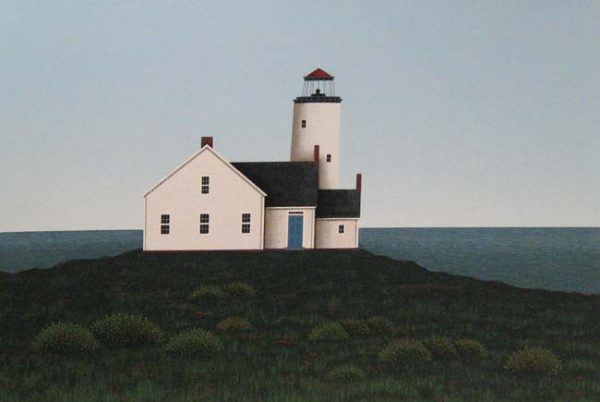 Ted Jeremenko - Lighthouse II - Serigraph of a lighthouse on a hill