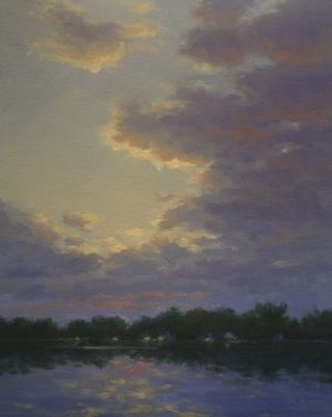 Hillary Scott Landscape Oil Painting of Sunset on the Coast in MA