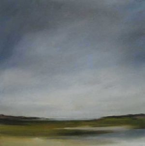 Anne Garton oil painting of the sky over a marshland of land and water