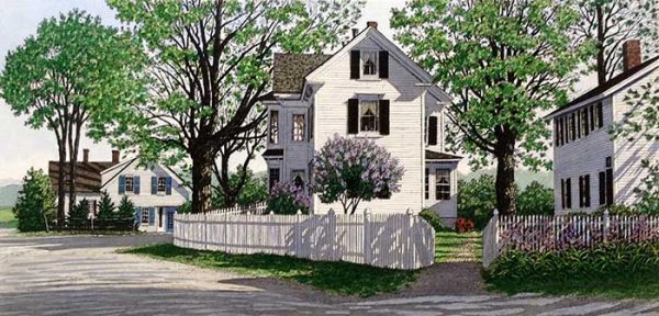 Carol Collette etching on paper of small town street with green trees white house and lilacs