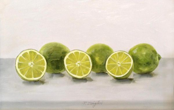 Patti Zeigler Contemporary Still Life Oil Painting on Board of Limes Sliced in half Green
