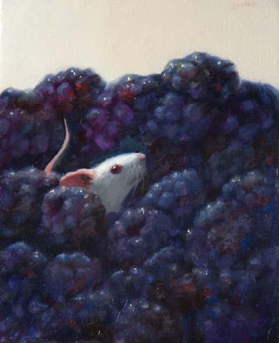 Stuart Dunkel - Painting of a mouse in blackberries