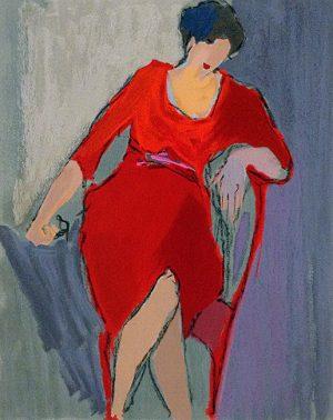Itzchak Tarkay - Loneliness I print of woman in red dress