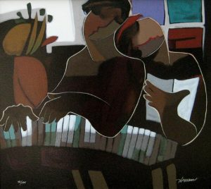 Hessam Abrishami - Glory of Desire (18x20 giclee on canvas) an abstract figurative painting of a lovers at a piano with the song of romance