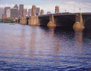 Richard Brady giclee on canvas of Longfellow Bridge Boston Charles