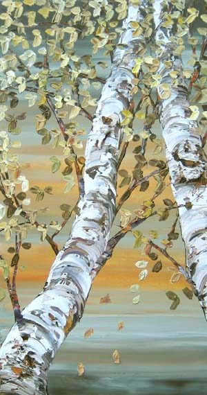Maya Evantov Oil Painting of Birch Trees and Sky
