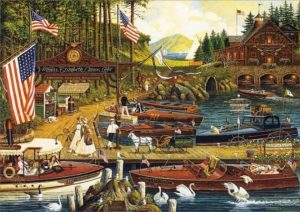 Charles Wysocki - Lost in the Woodies print of vintage wooden boats docked in a lake marina