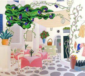 Thomas McKnight - Lotus print of restaurant in Greece