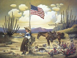 Charles Wysocki - Love Letter from Laramie print of woman in desert reading a letter