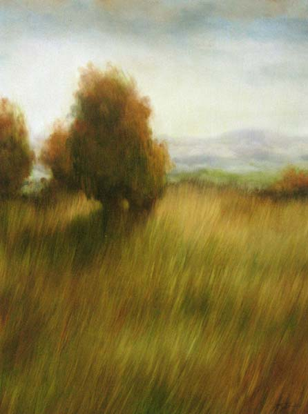 Painting of a tree on a grassy hill