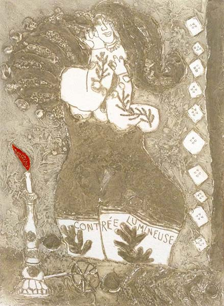 Theo Tobiasse - Contree Lumineuse judaica print of woman with long hair and lit candle